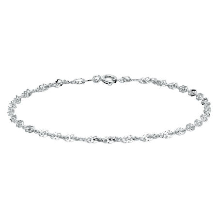 "19cm (7.5"") Singapore Bracelet in 10ct White Gold"
