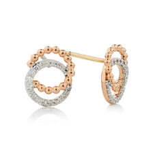 Online Exclusive - Bubble Earrings with 1/5 Carat TW of Diamonds in 10ct Rose Gold