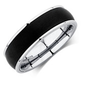 Men's Carbide Ring in Black & White Titanium