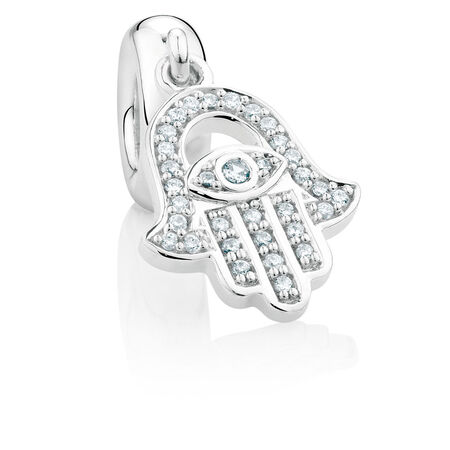 Cubic Zirconia & Sterling Silver Protection Dangle Charm