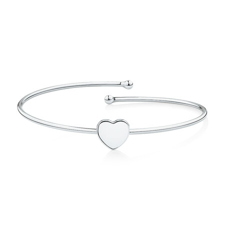 Heart Bangle in Sterling Silver