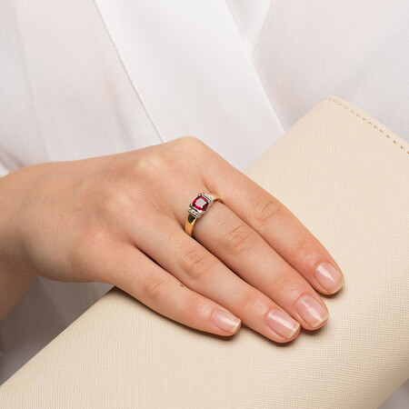 Ring with Created Ruby & Diamonds in 10ct Yellow & White Gold