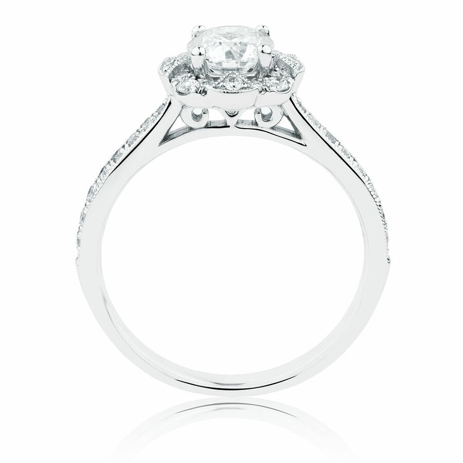 Engagement Ring With 1.03 Carat TW Of Diamonds In 14ct White Gold