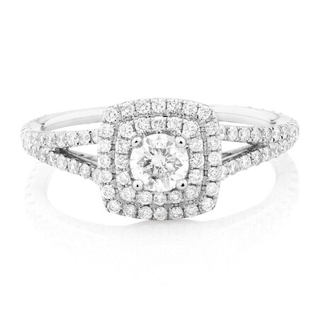 Sir Michael Hill Designer GrandArpeggio Engagement Ring with 0.95 Carat TW of Diamonds in 14ct White Gold