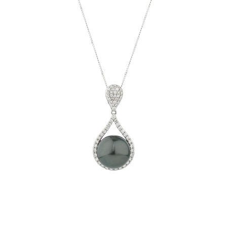 Online Exclusive - Pendant with 0.40 Carat TW of Diamonds & South Sea Pearl in 10ct White Gold