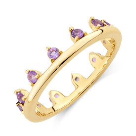 Zipper Ring with Natural Amethyst in 10ct Yellow Gold