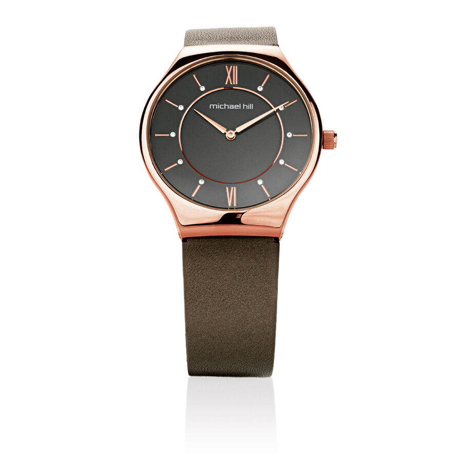 Ladies' Watch in Rose Tone Stainless Steel & Brown Leather