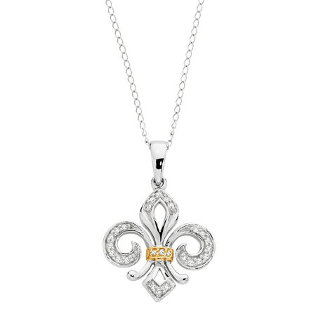 Online Exclusive - Fleur Di Lis Pendant With Diamonds In 10ct Yellow & White Gold