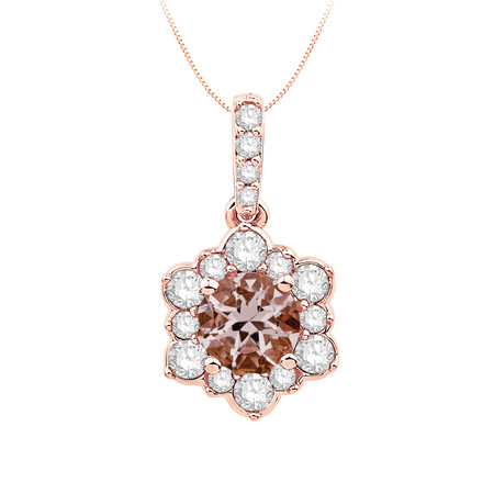 Pendant with Morganite and 0.25 Carat TW of Diamonds in 10ct Rose Gold
