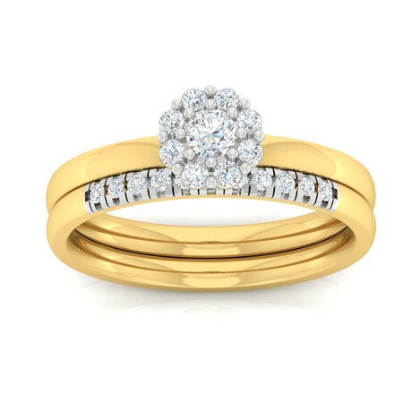 Bridal Set with 0.45 Carat TW of Diamonds in 10ct Yellow & White Gold