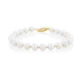 Pearl bracelet in 10ct Yellow Gold