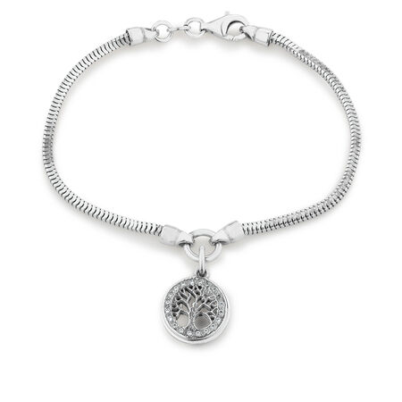 Tree of Life Bracelet with Cubic Zirconia in Sterling Silver