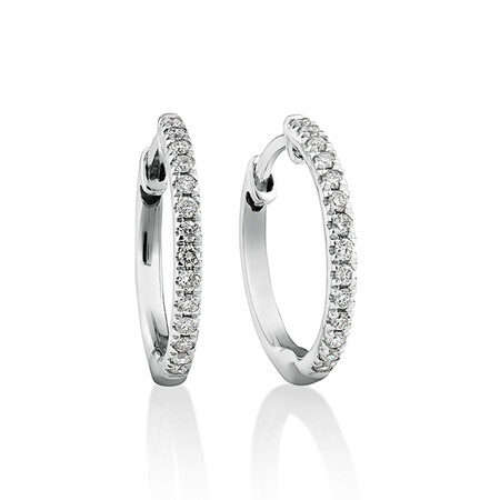 Pave Hoop Earrings with 0.15 Carat TW Diamonds in 10ct White Gold