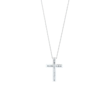 Cross Pendant With 1/4 Carat TW of Diamonds in 10ct White Gold