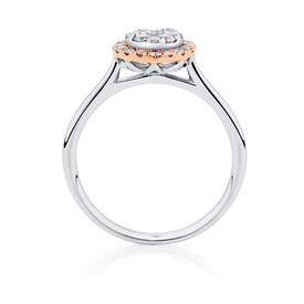 Engagement Ring with 1/2 Carat TW of Diamonds in 10ct Rose & White Gold