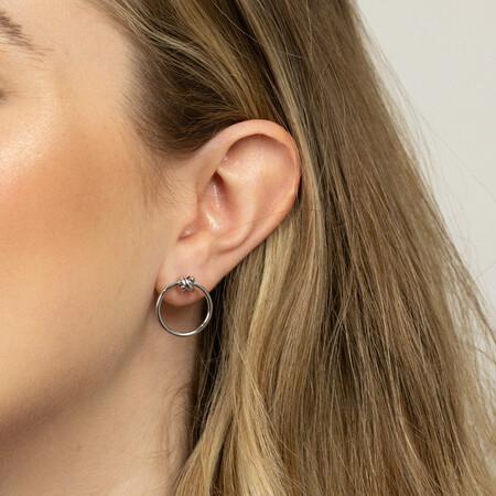 Open Circle Stud Earrings in Sterling Silver