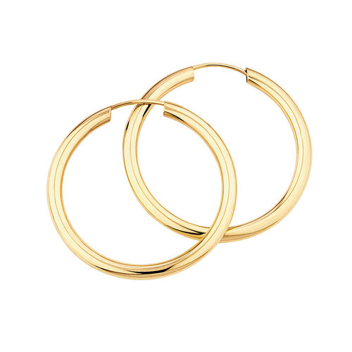 20mm Flexible Clasp Hoop Earrings in 10ct Yellow Gold