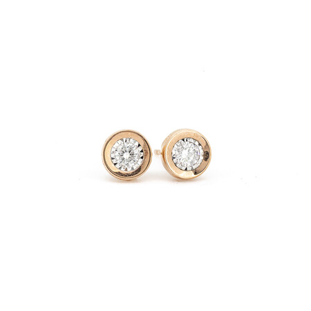 Circle Stud Earrings with 0.33 Carat TW of Diamonds in 10ct Rose Gold
