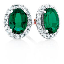 Michael Hill Designer Stud Earrings with Emerald & 0.20 Carat TW of Diamonds in 14ct White & Rose Gold