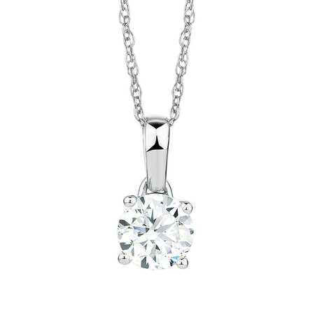 Solitaire Pendant with a 1 Carat Diamond in 18ct White Gold