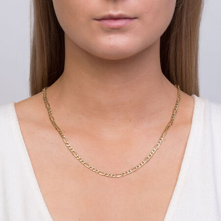 "50cm (20"") Figaro Chain in 10ct Yellow Gold"