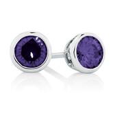 Stud Earrings with Purple Cubic Zirconia in Sterling Silver