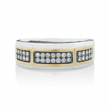 Men's Ring with 0.38 Carat TW of Brown Diamonds in 10ct White & Yellow Gold