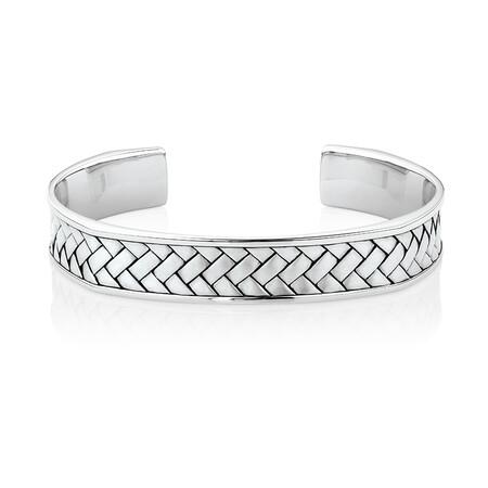Weave Pattern Cuff Bracelet in Sterling Silver