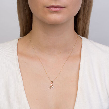 Initial Pendant with Diamonds in 10ct Yellow Gold