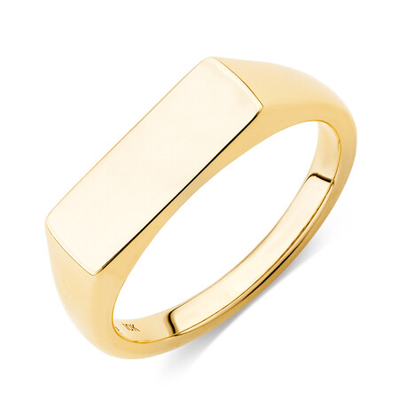 Rectangle Bar Signet Ring in 10ct Yellow Gold