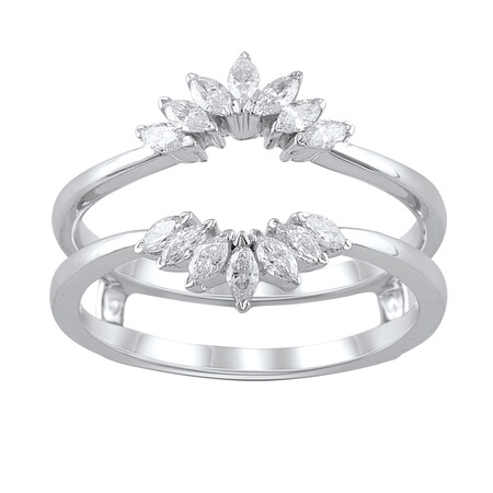 Enhancer Ring with 0.34 Carat TW of Diamonds in 10ct White Gold