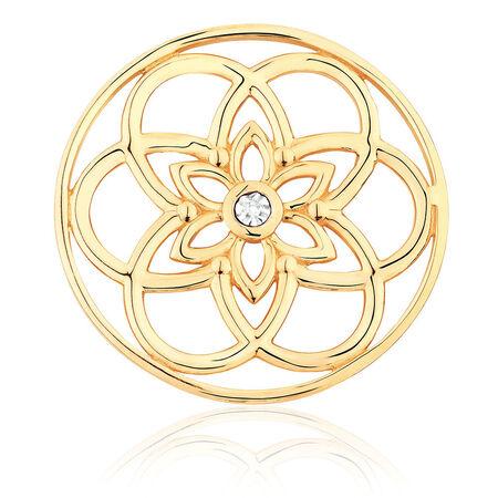 Diamond Set 10ct Yellow Gold Flower Coin Locket Insert