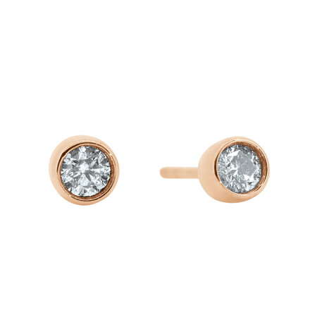 Circle Stud Earrings with 0.25 Carat TW of Diamonds in 10ct Rose Gold