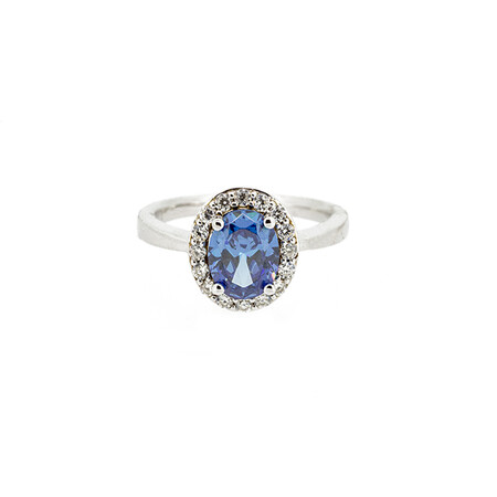 Halo Ring with Blue and White Cubic Zirconia in Sterling Silver