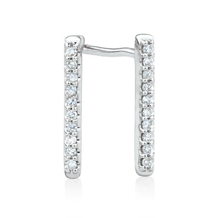 Bar Stud Earrings with Diamonds in 10ct White Gold