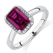 Ring with Created Mulberry Sapphire & Diamonds in 10ct White Gold