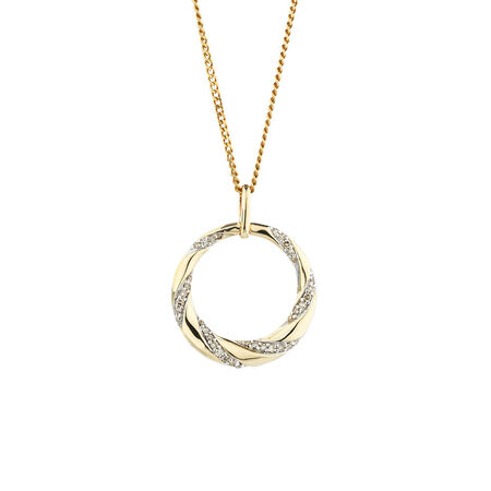 Online Exclusive - Circle Pendant with 0.15 Carat TW of Diamonds in 10ct Yellow Gold