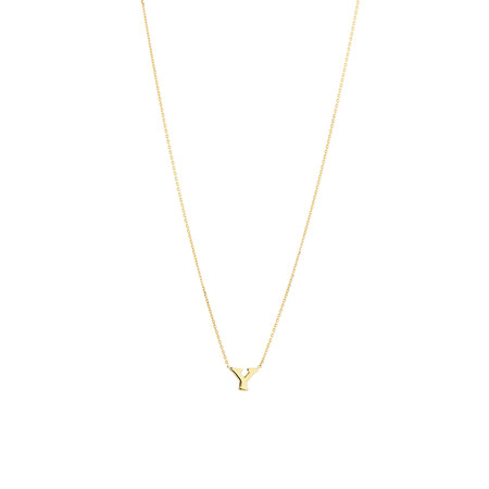 """Y"" Initial Necklace in 10ct Yellow Gold"