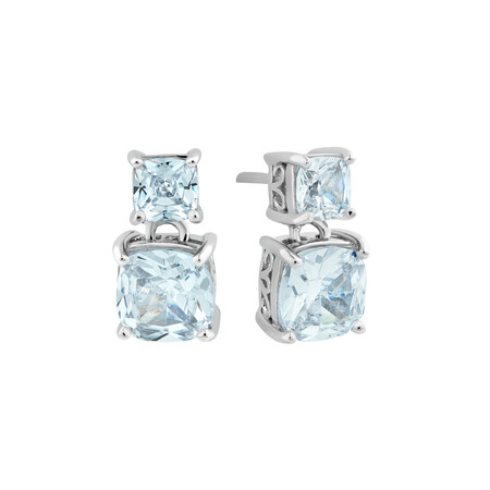 Square Double Studs with Cubic Zirconia in Sterling Silver