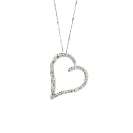 Online Exclusive - Heart Pendant with 1/2 Carat TW of Diamonds in 10ct White Gold