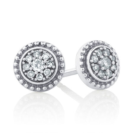 Online Exclusive - Stud Earrings with 0.15 Carat TW of Diamonds in Sterling Silver