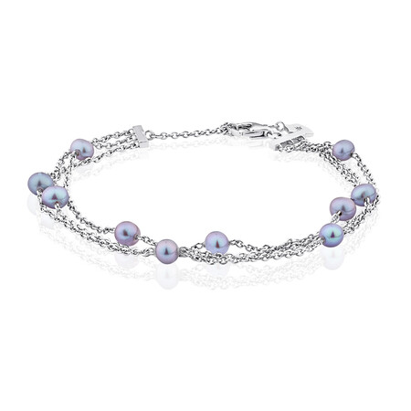 3 Row Bracelet with Grey Cultured Fresh Water Pearls in Sterling Silver