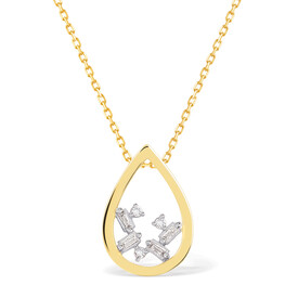 Pear Necklace With Diamonds In 10ct Yellow Gold