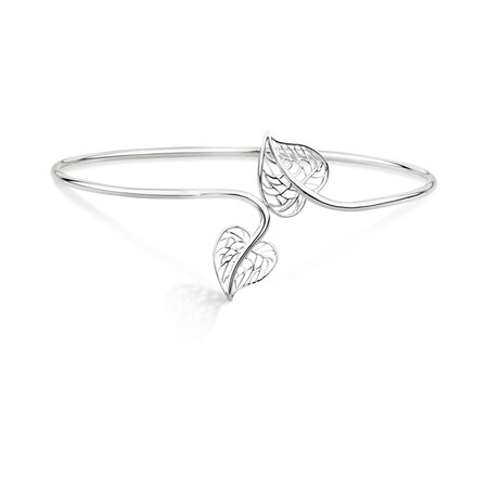 Heart Leaf Cuff Bangle in 10ct Rose Gold