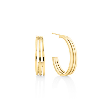 Three-strand Earrings In 10ct Yellow Gold