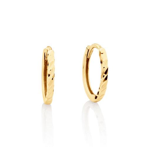 Mini Hoop Diamond Cut Earrings in 10ct Yellow Gold
