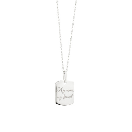 Engraved Tag Pendant in Sterling Silver