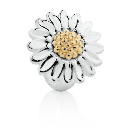 Wild Hearts Daisy Charm in Sterling Silver & 10ct Yellow Gold