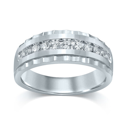 Channel Set Ring with 0.50 Carat TW of Diamonds in 10ct Yellow and White Gold