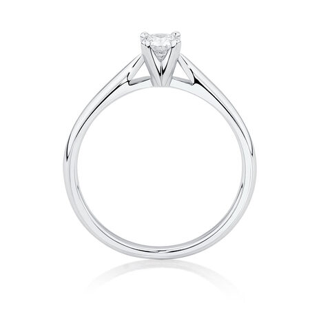 Solitaire Engagement Ring with a 1/3 Carat Diamond in 14ct White Gold